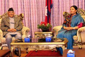 राष्ट्रपति भण्डारी र प्रधानमन्त्री ओलीबीच भेटवार्ता, लगत्तै बोलाइयाे मन्त्रिपरिषद् बैठक