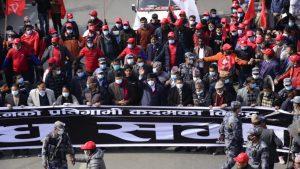 संसद् विघटनविरूद्व नेकपाको काठमाडौंमा शक्ति प्रदर्शन